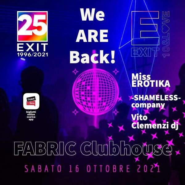 SABATO 16/10 WE ARE BACK FABRIC PALERMO Fabric Club House / PA